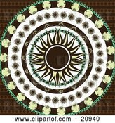 Vector Clip Art of Retro Yellow and Black Sun in the Center of Circles of Black, Yellow, and Green Floral Patterns over a Patterned Brown Background by Elaineitalia