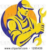 Vector Clip Art of Retro Yellow and Blue Male Mechanic Holding a Wrench in an Orange Circle by Patrimonio