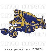 Vector Clip Art of Retro Yellow and Blue Woodcut Cement Truck, Rear View by Patrimonio