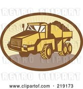August 14th, 2018: Vector Clip Art of Retro Yellow and Brown Dump Truck Logo by Patrimonio