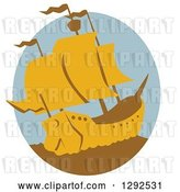 Vector Clip Art of Retro Yellow and Brown Galleon Ship in an Oval by Patrimonio