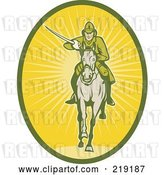Vector Clip Art of Retro Yellow and Green Cavalry Logo by Patrimonio