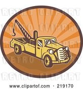 August 14th, 2018: Vector Clip Art of Retro Yellow and Orange Tow Truck Logo by Patrimonio