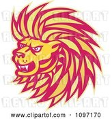 Vector Clip Art of Retro Yellow and Red Angry Lion Head by Patrimonio