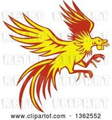 Vector Clip Art of Retro Yellow and Red Flying Fighting Cock Rooster by Patrimonio