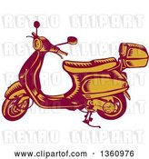 Vector Clip Art of Retro Yellow and Red Woodcut Scooter by Patrimonio
