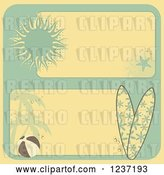 Vector Clip Art of Retro Yellow and Turquoise Summer Beach Borders by Elaineitalia