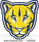 Vector Clip Art of Retro Yellow Blue and White Puma Cougar Mountain Lion Face by Patrimonio