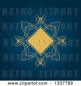 Vector Clip Art of Retro Yellow Diamond and Swirl Frame over Dark Blue by KJ Pargeter