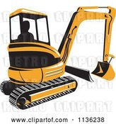 Vector Clip Art of Retro Yellow Excavator Bulldozer by Patrimonio