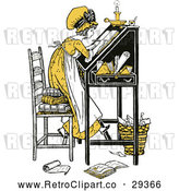 Vector Clip Art of Retro Yellow Girl Writing at a Desk by Prawny Vintage