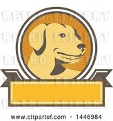 Vector Clip Art of Retro Yellow Labrador Dog in a Ray Circle over a Blank Banner by Patrimonio