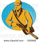 Vector Clip Art of Retro Yellow Male Hunter Holding a Rifle and Emerging from an Oval of Blue Rays by Patrimonio