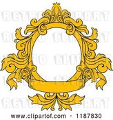 Vector Clip Art of Retro Yellow Oval Frame with Floral Leaves and a Banner by Vector Tradition SM
