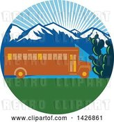 Vector Clip Art of Retro Yellow School Bus with Cactus and Mountains Against a Sunny Sky Inside a Circle by Patrimonio