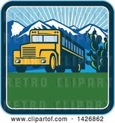 Vector Clip Art of Retro Yellow School Bus with Cactus and Mountains Against a Sunny Sky Inside a Square by Patrimonio