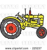 Vector Clip Art of Retro Yellow Sketched Tractor by Prawny