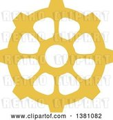 Vector Clip Art of Retro Yellow Steampunk Gear Cog Wheel by BNP Design Studio