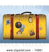 Vector Clip Art of Retro Yellow Suitcase with Travel Stickers by Anja Kaiser
