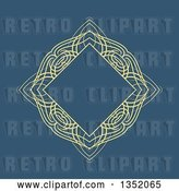 Vector Clip Art of Retro Yellow Swirl Diamond Frame over Blue by KJ Pargeter