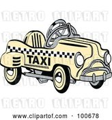 Vector Clip Art of Retro Yellow Toy Pedal Taxi Car by Andy Nortnik