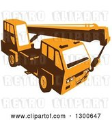 Vector Clip Art of Retro Yellow Truck Mounted Hydraulic Crane Cartage with Hydraulic Boom Hoist by Patrimonio