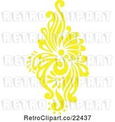 Vector Clip Art of Retro Yellow Victorian Floral Damask Design Element 1 by BestVector