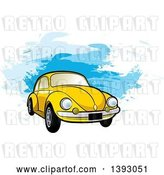 Vector Clip Art of Retro Yellow VW Slug Bug Car over Blue Paint Strokes by Lal Perera