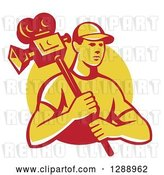 Vector Clip Art of Retro Young Male Cameraman in a Yellow Circle by Patrimonio