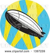 Vector Clip Art of Retro Zeppelin Blimp in a Circle of Spot Lights by Patrimonio
