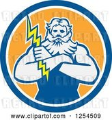 Vector Clip Art of Retro Zeus Holding a Thunder Bolt in a Blue and Orange Circle by Patrimonio