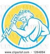 Vector Clip Art of Retro Zeus Holding a Thunder Bolt in a Blue White and Yellow Circle by Patrimonio