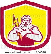 Vector Clip Art of Retro Zeus Holding a Thunder Bolt in a Red and Yellow Shield by Patrimonio