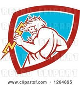 Vector Clip Art of Retro Zeus Holding a Thunder Bolt in a Red White and Blue Shield by Patrimonio