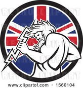 Vector Clip Art of Retro Zeus Holding a Thunder Bolt in a Union Jack Flag Circle by Patrimonio
