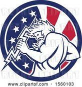 August 14th, 2018: Vector Clip Art of Retro Zeus Holding a Thunder Bolt in an American Flag Circle by Patrimonio