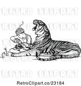 Vector Clip Art of Retro Zookeeper Tending to an Injured Tiger by Prawny Vintage