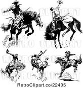 Vector Clip Art of Rodeo Cowboys on Bucking Horses by BestVector