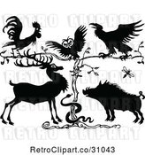 Vector Clip Art of Rooster Owl Crow Deer Snake and Pig by a Tree by Prawny Vintage