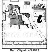 Vector Clip Art of Sad Lady in an Arm Chair by a Cat by Prawny Vintage