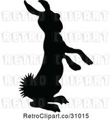 Vector Clip Art of Silhouetted Alert Bunny by Prawny Vintage