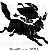 Vector Clip Art of Silhouetted Fox Lattacking a Goose by Prawny Vintage