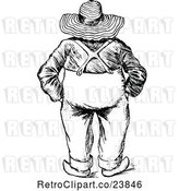 Vector Clip Art of Sketched Rear View of a Chubby Famer by Prawny Vintage