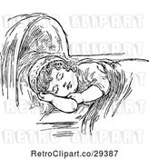 Vector Clip Art of Sleeping Girl by Prawny Vintage