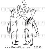 Vector Clip Art of Tangled Retro Men Trying to Exchange Business Cards by Picsburg