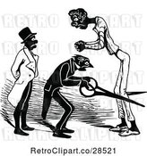 Vector Clip Art of Taylor Cutting a Mans Legs by Prawny Vintage