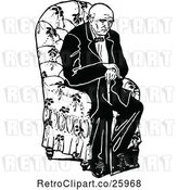 Vector Clip Art of Tired Old Guy Sitting in a Chair by Prawny Vintage