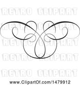 Vector Clip Art of Vintage Calligraphic Butterfly Design Element by Frisko
