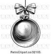 Vector Clip Art of Woodcut or Engraved Suspended Christmas Bauble Ornament with a Bow by AtStockIllustration