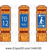 July 21st, 2018: Vector Clip Art of Wooden Hiking Mile Marker Signs by Patrimonio